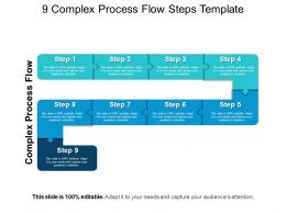 9 Complex Process Flow Steps Template PowerPoint Slide