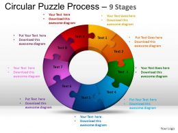 9 Components Circular Puzzle Process Powerpoint Slides And ppt Templates 0412