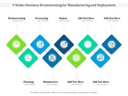 9 Nodes Business Brainstorming For Manufacturing And Deployment