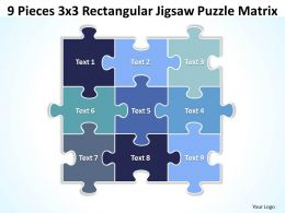 9 Pieces 3x3 Rectangular Jigsaw Puzzle Matrix