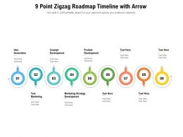 9 Point Zigzag Roadmap Timeline With Arrow