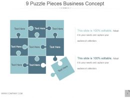 9 Puzzle Pieces Business Concept Powerpoint Images