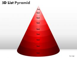 9 Staged 3D Red Triangular Diagram For Business