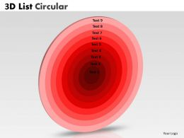 9 Staged Red Colored Circular Chart