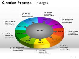 9 Stages Circular Process Powerpoint Slides