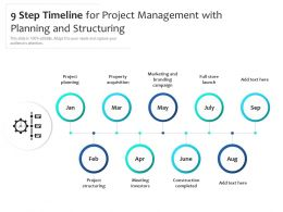 9 Step Timeline For Project Management With Planning And Structuring