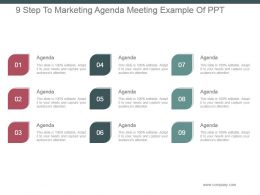 9 Step To Marketing Agenda Meeting Example Of Ppt