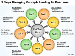 9 steps diverging concepts leading to one issue Processs and PowerPoint templates