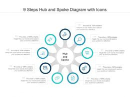 9 Steps Hub And Spoke Diagram With Icons