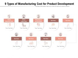 9 Types Of Manufacturing Cost For Product Development