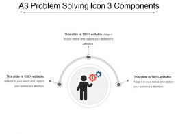 A3 Problem Solving Icon 3 Components PowerPoint Templates