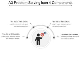 A3 Problem Solving Icon 4 Components PowerPoint Slide Backgrounds
