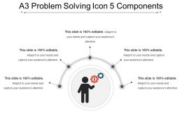 A3 Problem Solving Icon 5 Components Powerpoint Slide Clipart
