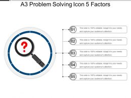 A3 Problem Solving Icon 5 Factors PowerPoint Slide Images