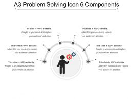 A3 Problem Solving Icon 6 Components Powerpoint Slide Designs