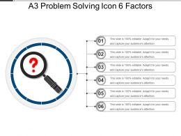 A3 Problem Solving Icon 6 Factors Powerpoint Slide Template