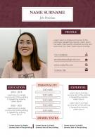 A4 Resume Powerpoint Template Customizable CV Design