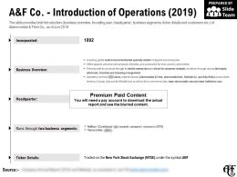 A And F Co Introduction Of Operations 2019
