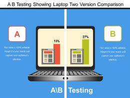 A B Testing Showing Laptop Two Version Comparison