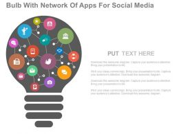 a Bulb With Network Of Apps For Social Media Flat Powerpoint Design