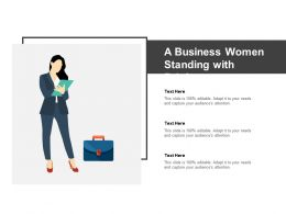 A Business Women Standing With Briefcase