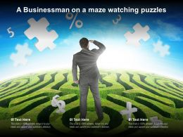 A Businessman On A Maze Watching Puzzles