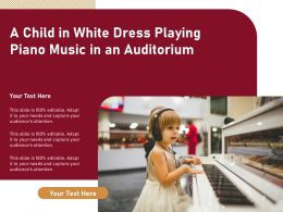 A Child In White Dress Playing Piano Music In An Auditorium