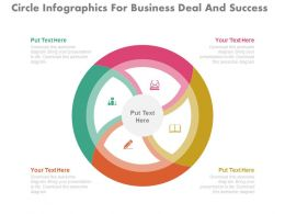 a Circle Infographics For Business Deal And Success Flat Powerpoint Design