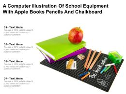 A Computer Illustration Of School Equipment With Apple Books Pencils And Chalkboard