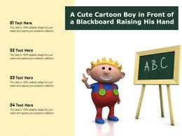 A Cute Cartoon Boy In Front Of A Blackboard Raising His Hand