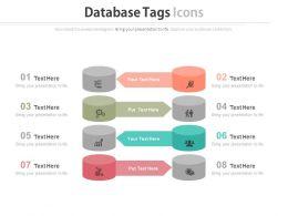 a Eight Staged Database Tags And Icons Flat Powerpoint Design