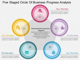 a Five Staged Circle Of Business Progress Analysis Flat Powerpoint Design