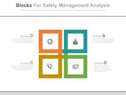 a Four Blocks For Safety Management Analysis Flat Powerpoint Design
