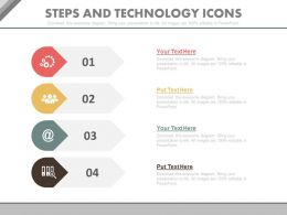 a Four Staged Steps And Technology Icons Flat Powerpoint Design