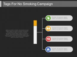 a Four Tags For No Smoking Campaign Flat Powerpoint Design