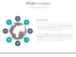 a Globe And Icons For Global Client Management Flat Powerpoint Design