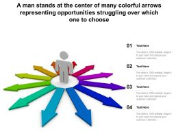 A Man Stands At Center Of Many Colorful Arrows Representing Opportunities Struggling Over Which One To Choose