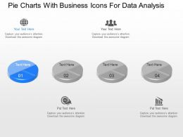 a Pie Charts With Business Icons For Data Analysis Powerpoint Template