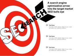A Search Engine Optimization Arrow Hits The Target Market SEO Bulls Eye