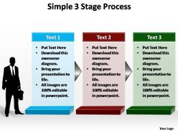 a simple 3 stage process editable powerpoint templates