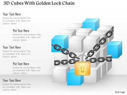 Aa 3d Cubes With Golden Lock Chain Powerpoint Template