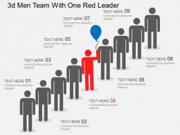 Aa 3d Men Team With One Red Leader Flat Powerpoint Design