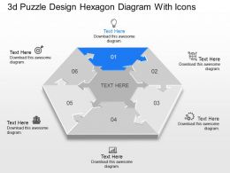 Aa 3d Puzzle Design Hexagon Diagram With Icons Powerpoint Template