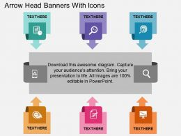 aa Arrow Head Banners With Icons Flat Powerpoint Design