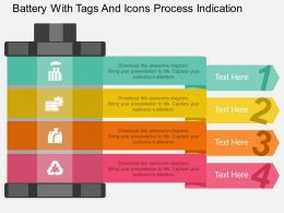 aa Battery With Tags And Icons Process Indication Flat Powerpoint Design