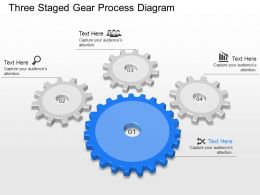 Aa Four Staged Gear Process Diagram Powerpoint Template Slide