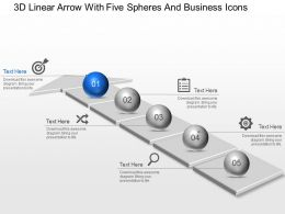 Ab 3d Linear Arrow With Five Spheres And Business Icons Powerpoint Template Slide