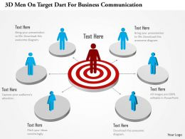 Ab 3d Men On Target Dart For Business Communication Powerpoint Template