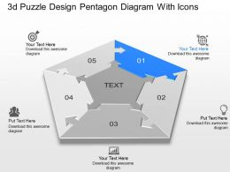 Ab 3d Puzzle Design Pentagon Diagram With Icons Powerpoint Template