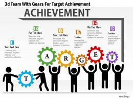 Ab 3d Team With Gears For Target Achievement Powerpoint Templets